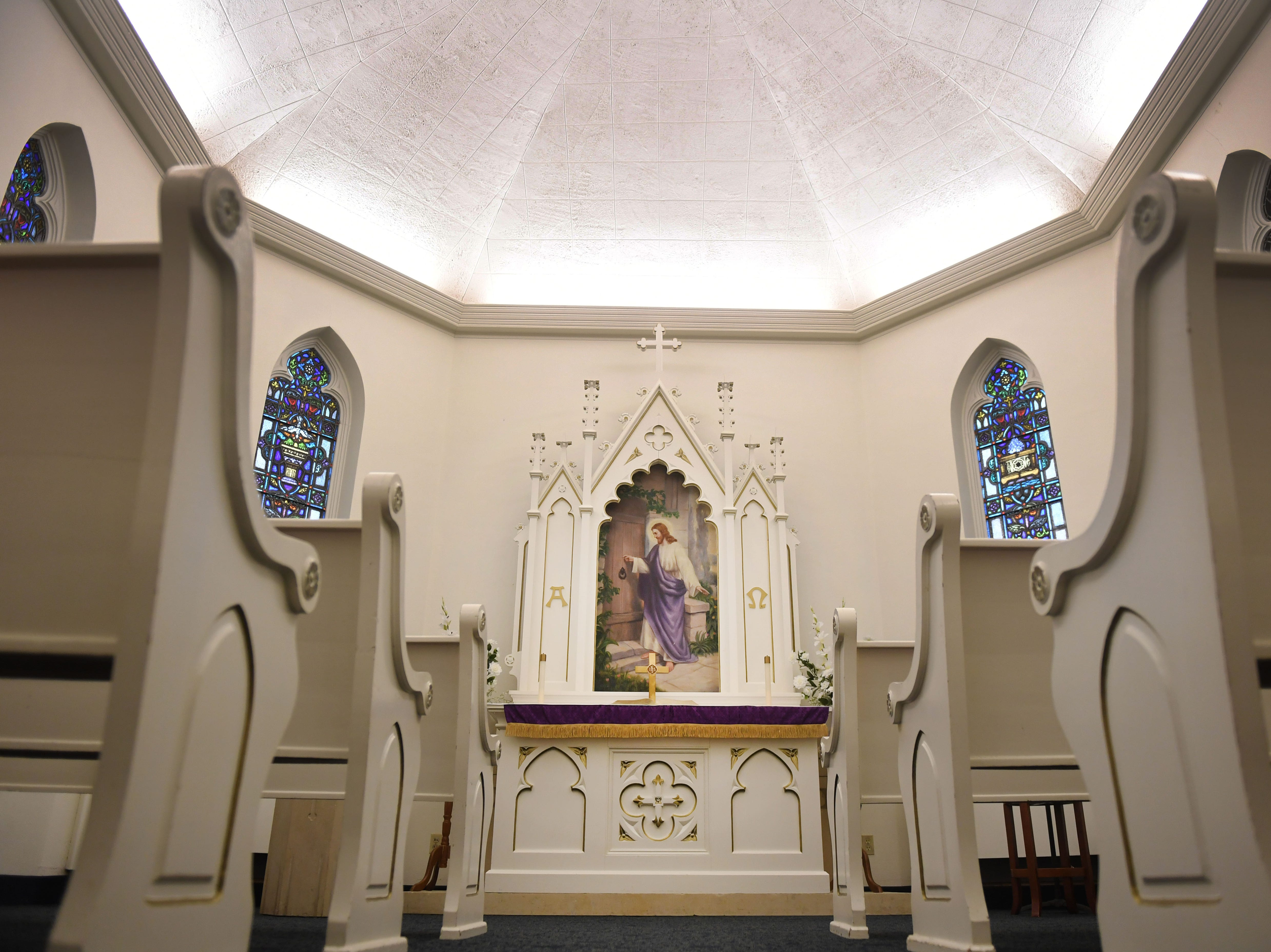 The chapel room at East Side Lutheran Church Wednesday, April 10, before noon service in Sioux Falls. The alter in the chapel room is the original alter from the original church down the street.