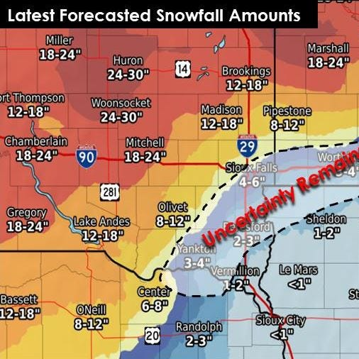NWS: 'Uncertainty remains' for winter storm snowfall in Sioux Falls