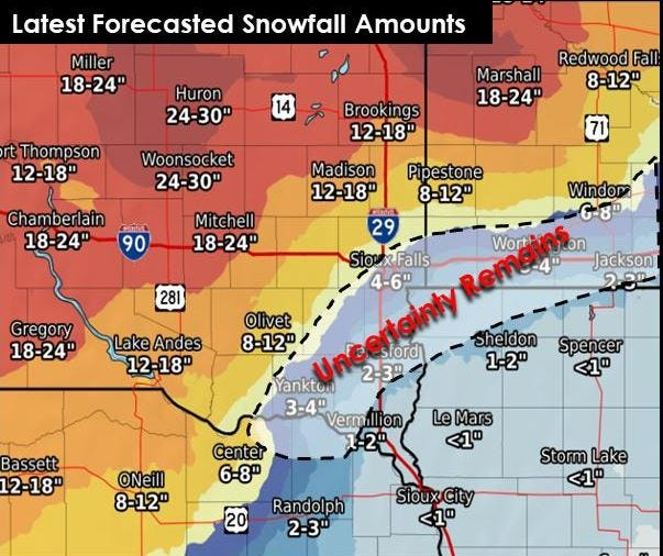 Expected snowfall for the week of April 8, 2019.