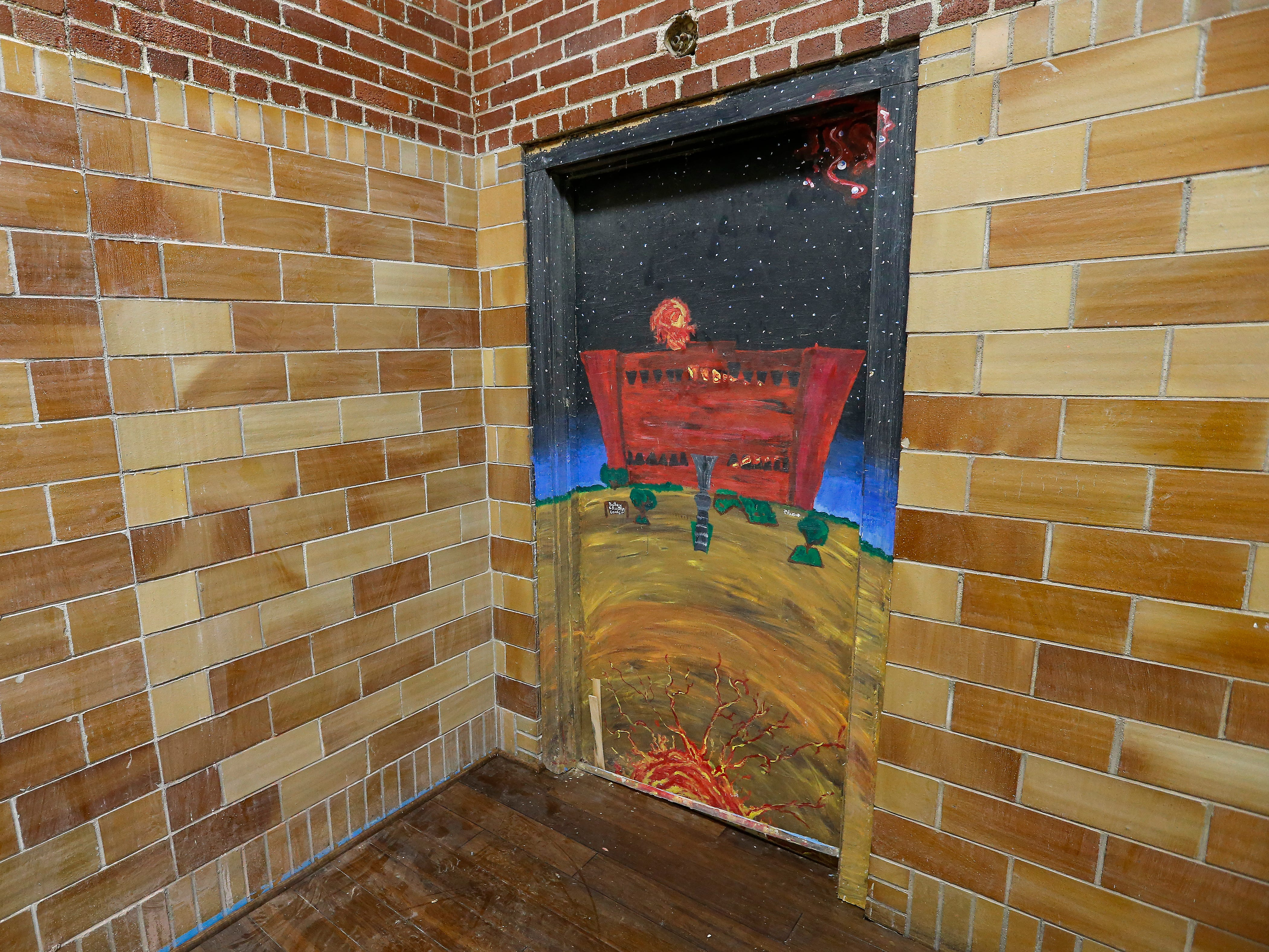 The art on the door in the gym at the Bailey School Lofts will be preserved.