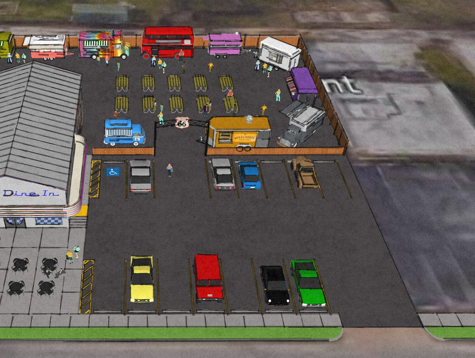 Digital renderings for the Birthplace of Route 66 Food Truck Park & Diner on 1530 E. St. Louis St.