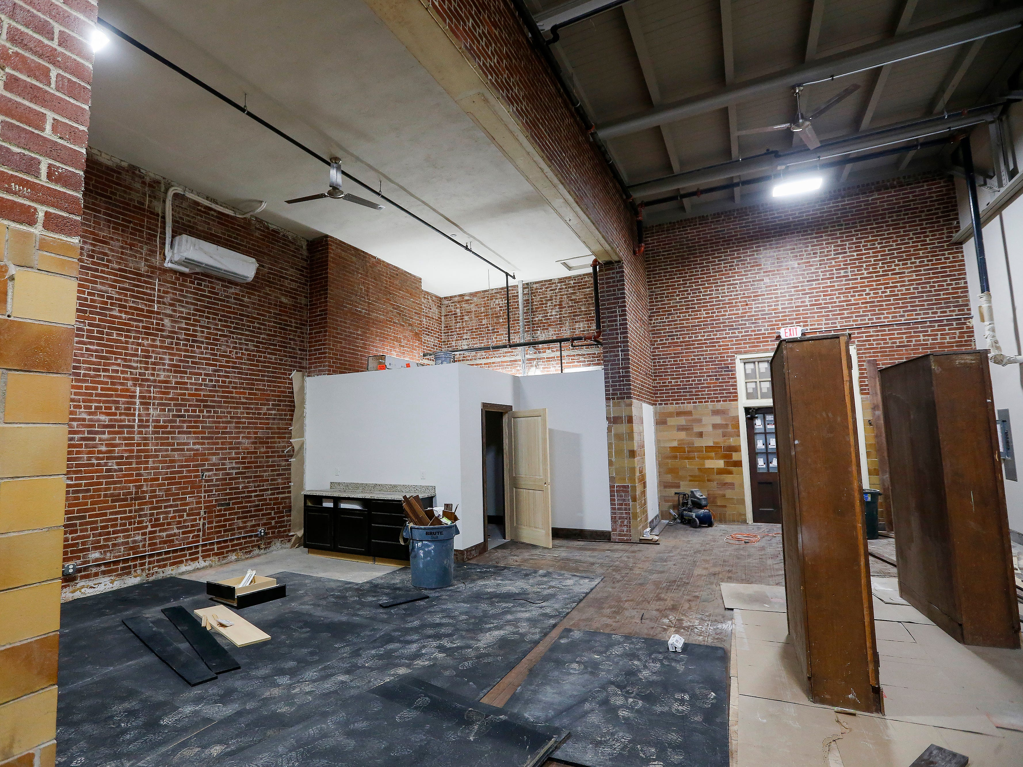 This area that was once the stage in the auditorium will be the gym at the Bailey School Lofts on Central Street near Campbell Avenue.