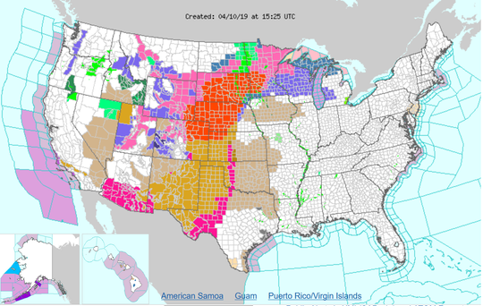 A National Weather Service map from Wednesday morning shows the blizzard warnings (in orange) from the bomb cyclone that's also bringing high winds to the Ozarks.