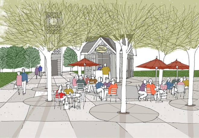 Conceptual drawing of the new guest plaza at the Beverley Taylor Sorenson Center for the Arts on the SUU campus.