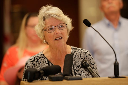 Bonnie Sullivan, a resident of Indian Rocks Beach, expresses opposition to Senate Bill 824 and House Bill 987 which would put regulation of vacation rentals in the hands of the state instead of local governments at the Capitol Wednesday, April 10, 2019.