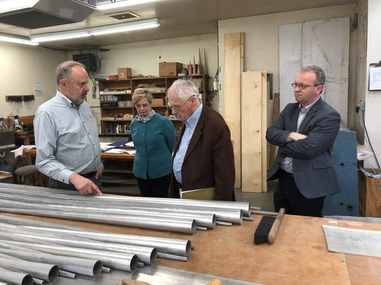 (L-R) Paul Fritts, owner of Paul Fritts & Co. Organ Builders, gives tour last week for Patricia Flowers, dean of the FSU College of Music, donor Charles Rockwood, and Iain Quinn, assistant professor of organ, at his Tacoma, Washington location where the Rockwood Organ will be built.