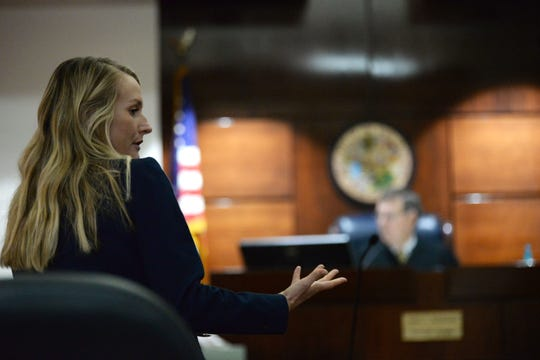 State Attorney Sarah Dugan turns to speak to the defense attorneys for former Tallahassee Police Depart officer who is on trial for possibly raping a woman during a traffic stop last year Wednesday, April 10, 2019.