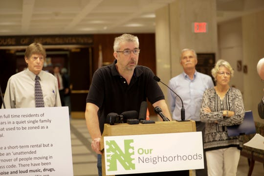 Tallahassee homeowner Michael Aers expresses his opposition to Senate Bill 824 and House Bill 987 which would put regulation of vacation rentals in the hands of the state instead of local governments at the Capitol Wednesday, April 10, 2019.
