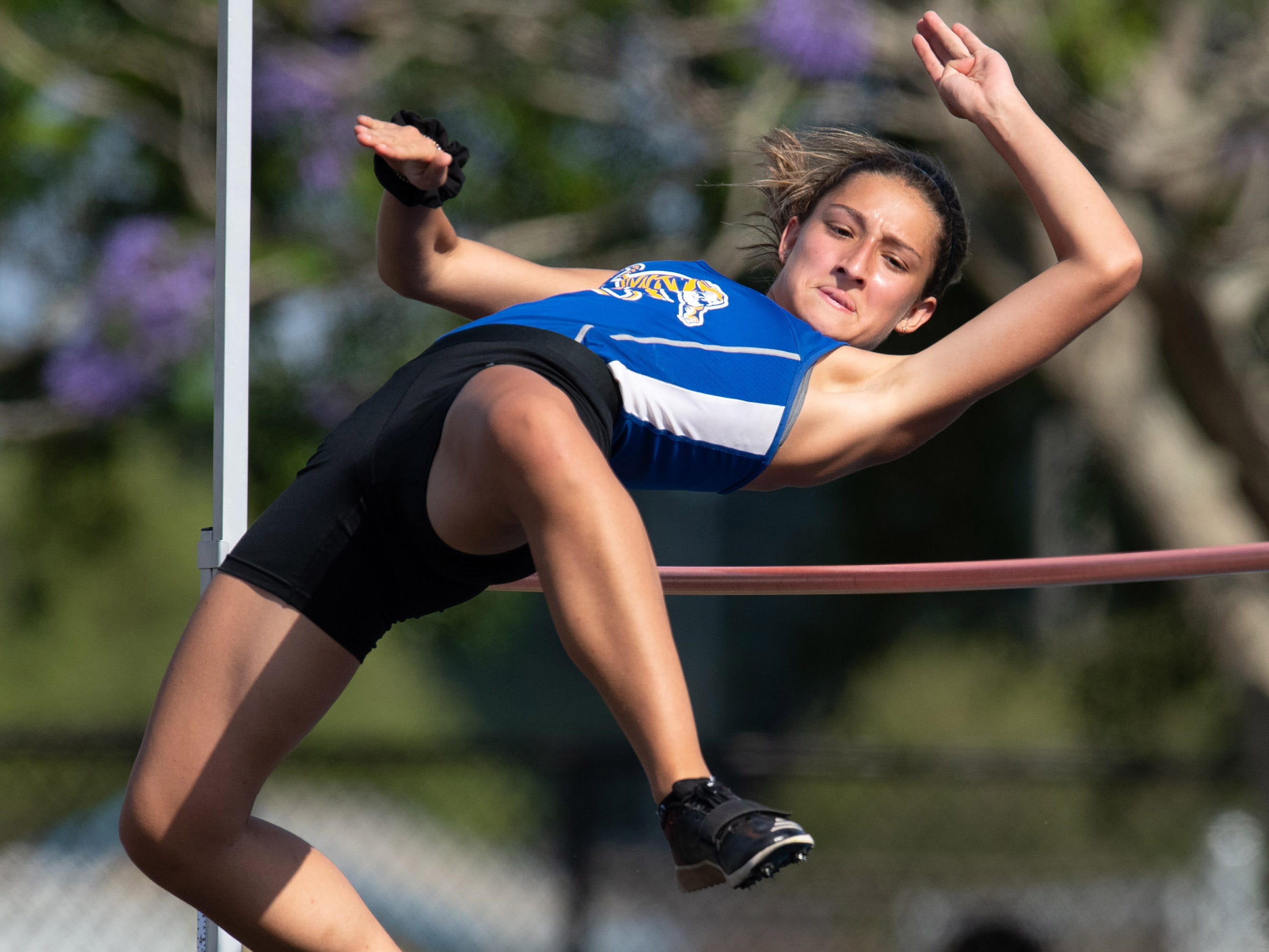 Martin County's Samantha Rosenberg competes in the high jump during the District 9-4A Track Meet at Martin County High School on Wednesday, April 10, 2019, in Stuart.