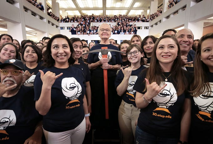"""Dr. Diana Natalicio poses with hundreds of her closest friends and students for her """"Thank You For 30"""" photograph at the UTEP Student Union. Natalicio is retiring after 30 years at UTEP's president."""