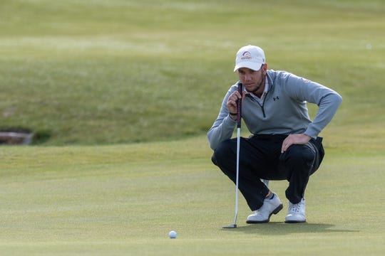 UTA senior Tanner Gore eyes a shot. He shot a round of 65 at Chambers Bay Golf Course, the Seattle-area course that hosted the 2015 U.S. Open.