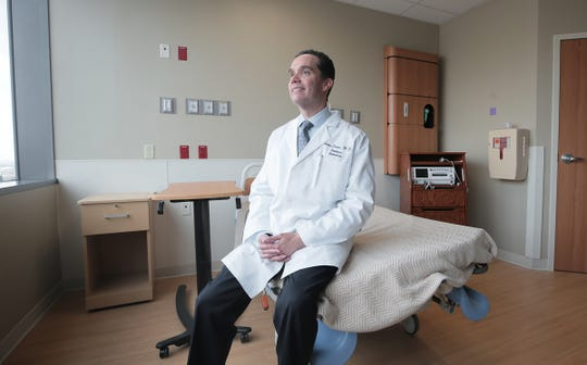 Dr. Henry Garcia, chairman of the Obstetrics Department at Las Palmas Medical Center, sits in one of the new rooms in the hospital's $63 million maternity addition, which opened March 27.