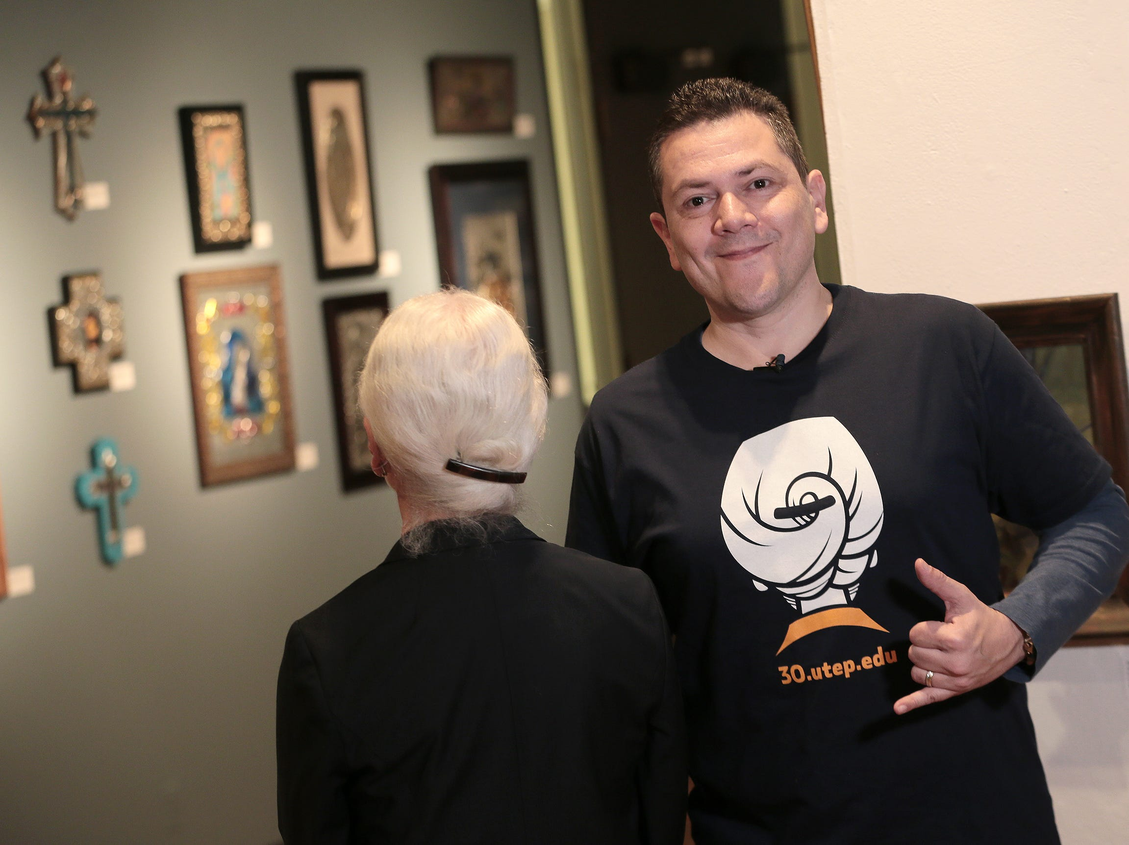 Jorge Baeza of UTEP's College of Business designed the Dr. Natalicio t-shirt featuring the outgoing president's famous bun.