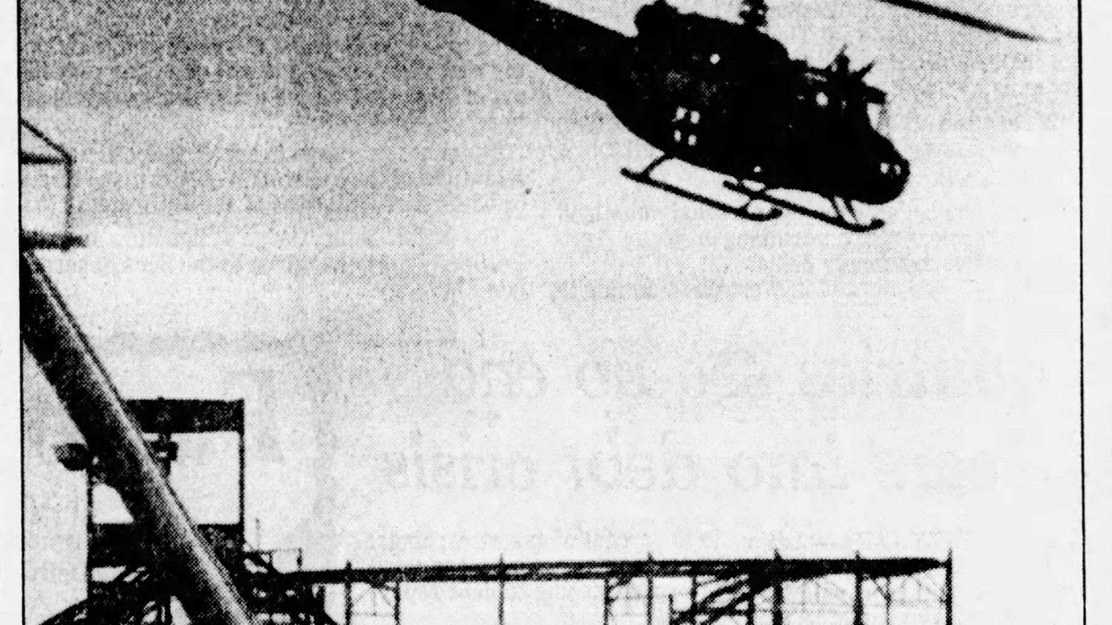 Sept. 2, 1985: An Army helicopter takes off from Magic Landing Amusement Park carrying Frank Guzman, 18, a worker whose left arm was severed by a roller-coaster car.