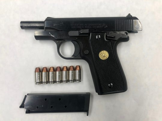 A semi-automatic handgun confiscated during a probation search Friday in Ventura.