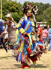 George Lone Elk, the lead male dancer also known as head man, will perform at the Oxnard powwow this weekend.