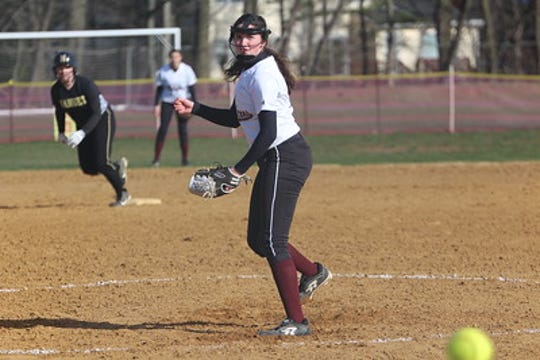 Albertus Magnus pitcher Kelly O'Brien delivers a pitch during a game against Nanuet.