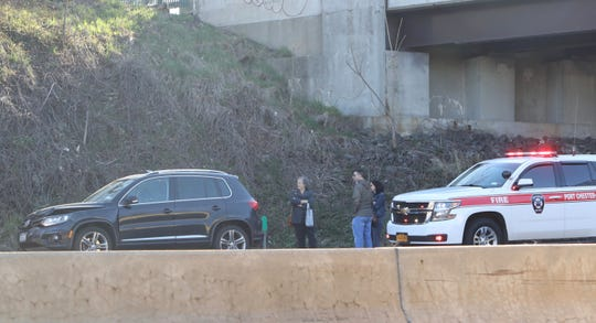 A multiple vehicle crash slowed westbound traffic on I-287 in Rye Brook Wednesday morning, April 10, 2019.
