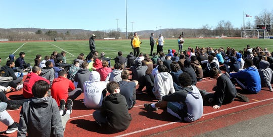 Ray Kondracki during track practice at Clarkstown South High School in West Nyack  March 26, 2019. The longtime Clarkstown South track coach Kondracki will retire after the spring season.
