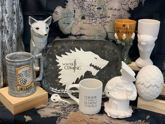 """The """"Game of Thrones"""" pottery painting options and trivia prize at MADE in Mamaroneck."""