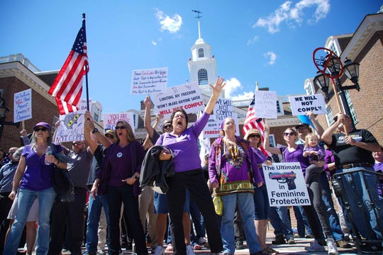 Opposers protest at a rally where lawmakers and advocates gathered outside Legislative Hall on Wednesday to support what they called common-sense legislation that will introduce stricter guidelines when obtaining guns in Delaware.