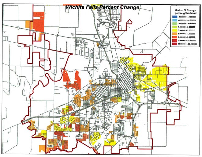 Areas of Wichita Falls in red, orange and yellow are seeing the highest median percentage change in property values.