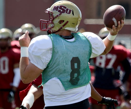 Midwestern State's Zach Purcell has seized the No. 1 quarterback job this spring for the Mustangs.