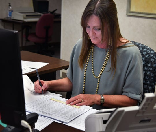 Wichita Appraisal District support staff member Becky Crowe works on a spreadsheet at the district offices. New property appraisals were mailed out this week.