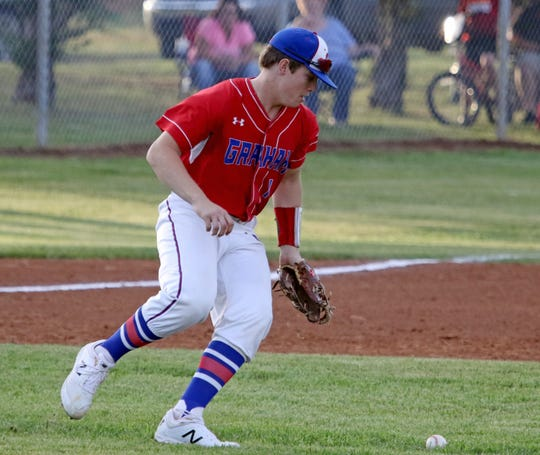 Graham's Corey Ballew fields the ball in the game against Vernon Tuesday, April 9, 2019, in Vernon.