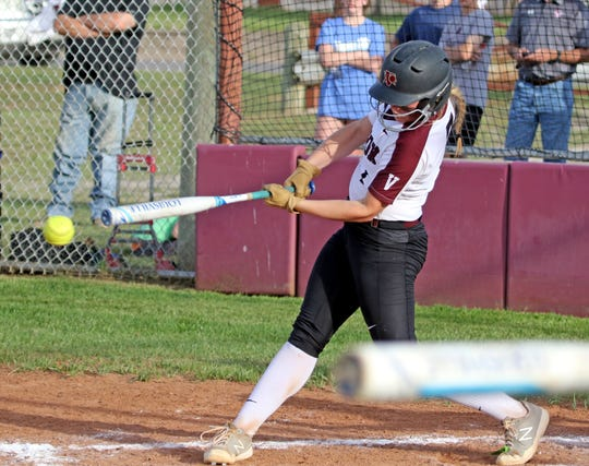 Vernon's Lauren Hager hits a single against Graham Tuesday, April 9, 2019, in Vernon. The Lady Blues defeated the Lady Lions 6-2.