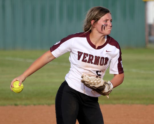 Vernon's Shay Williams pitches against Graham Tuesday, April 9, 2019, in Vernon. The Lady Blues defeated the Lady Lions 6-2.