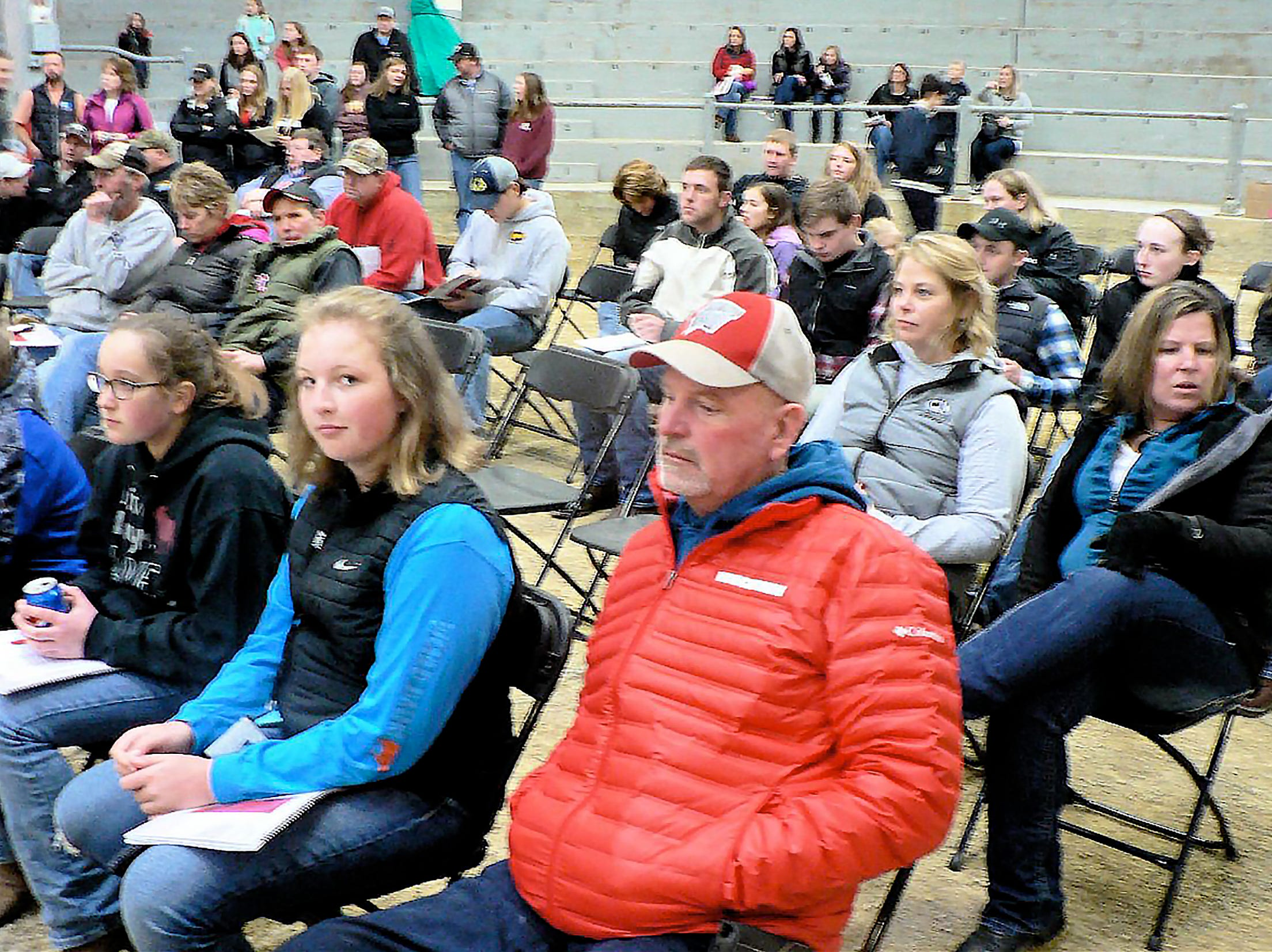The chairs were full and the audience was waiting for the first animal in the sale ring.