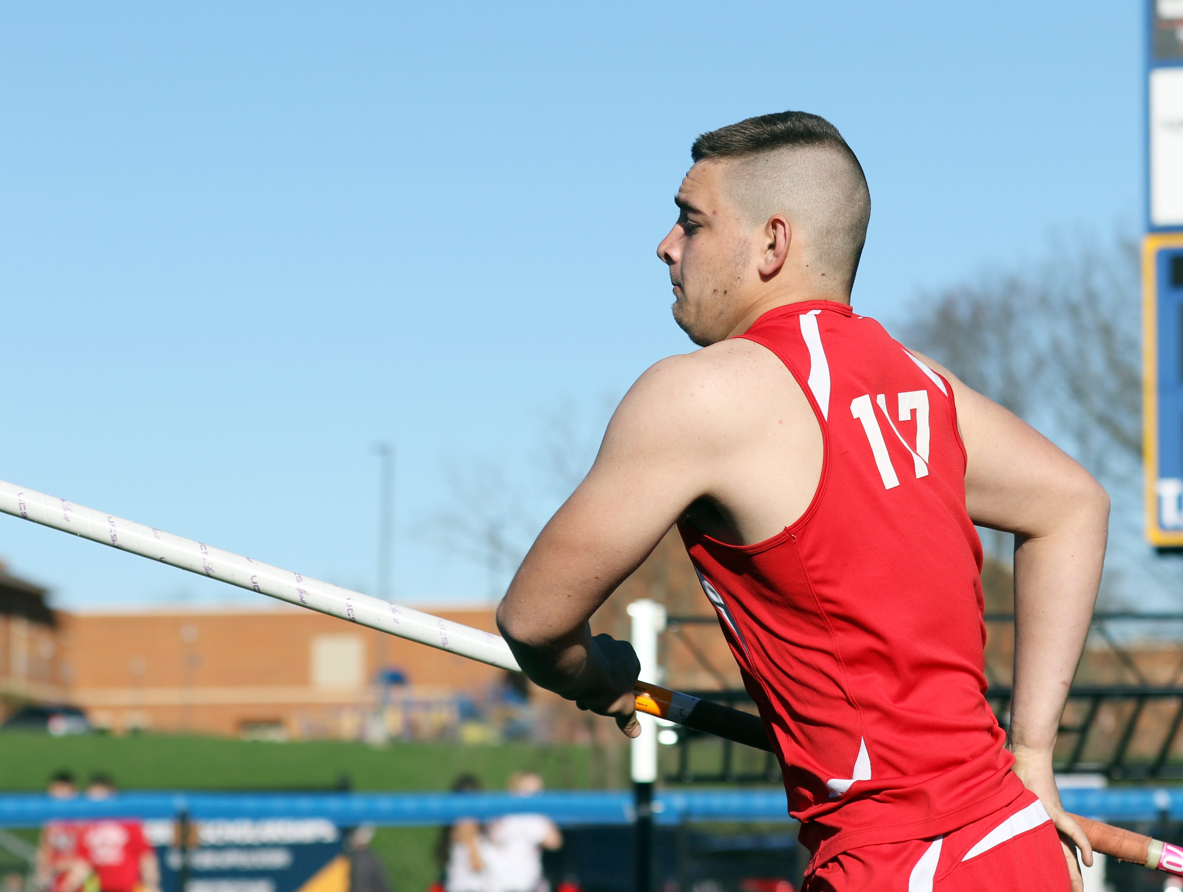 Sheridan's Jared Frame competes in the pole vault during Tuesday's tri-meet between Sheridan, New Lexington and host Maysville.