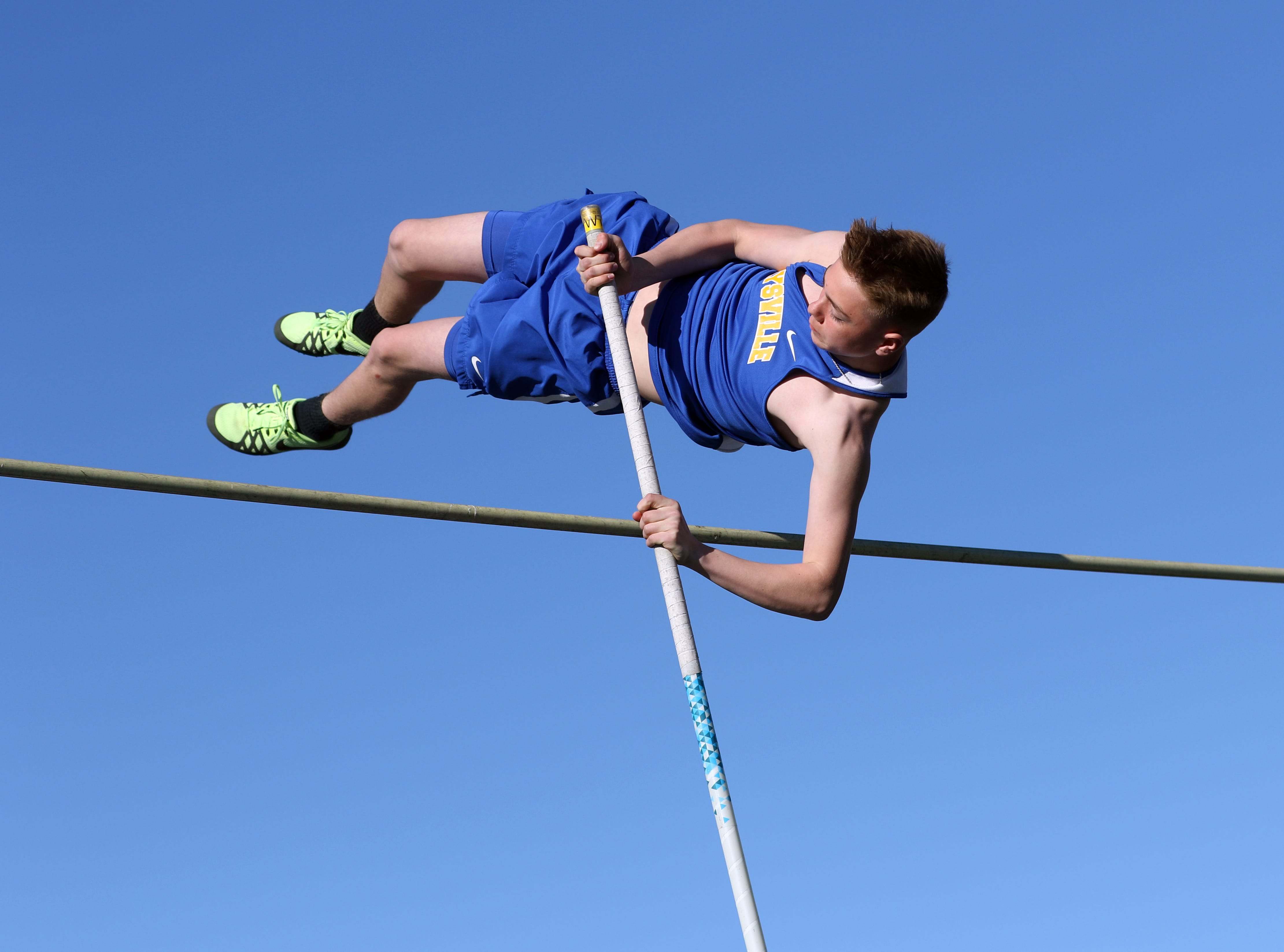 Maysville's Codah Bunting wins the pole vault competition during Tuesday's tri-meet between Sheridan, New Lexington and host Maysville.