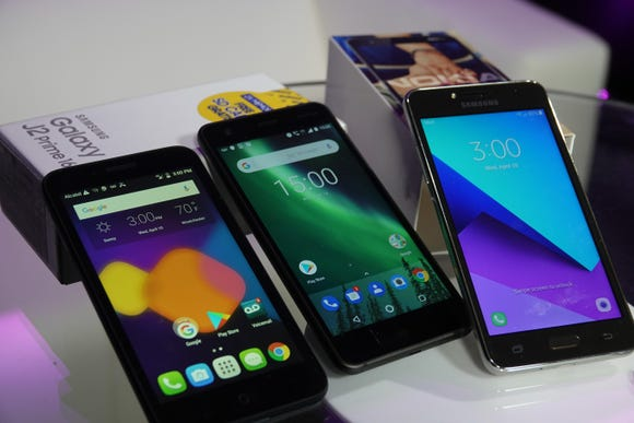 These phones all sell for under $100, the Alcatel Dawn, Nokia 2 and Samsung Galaxy J.