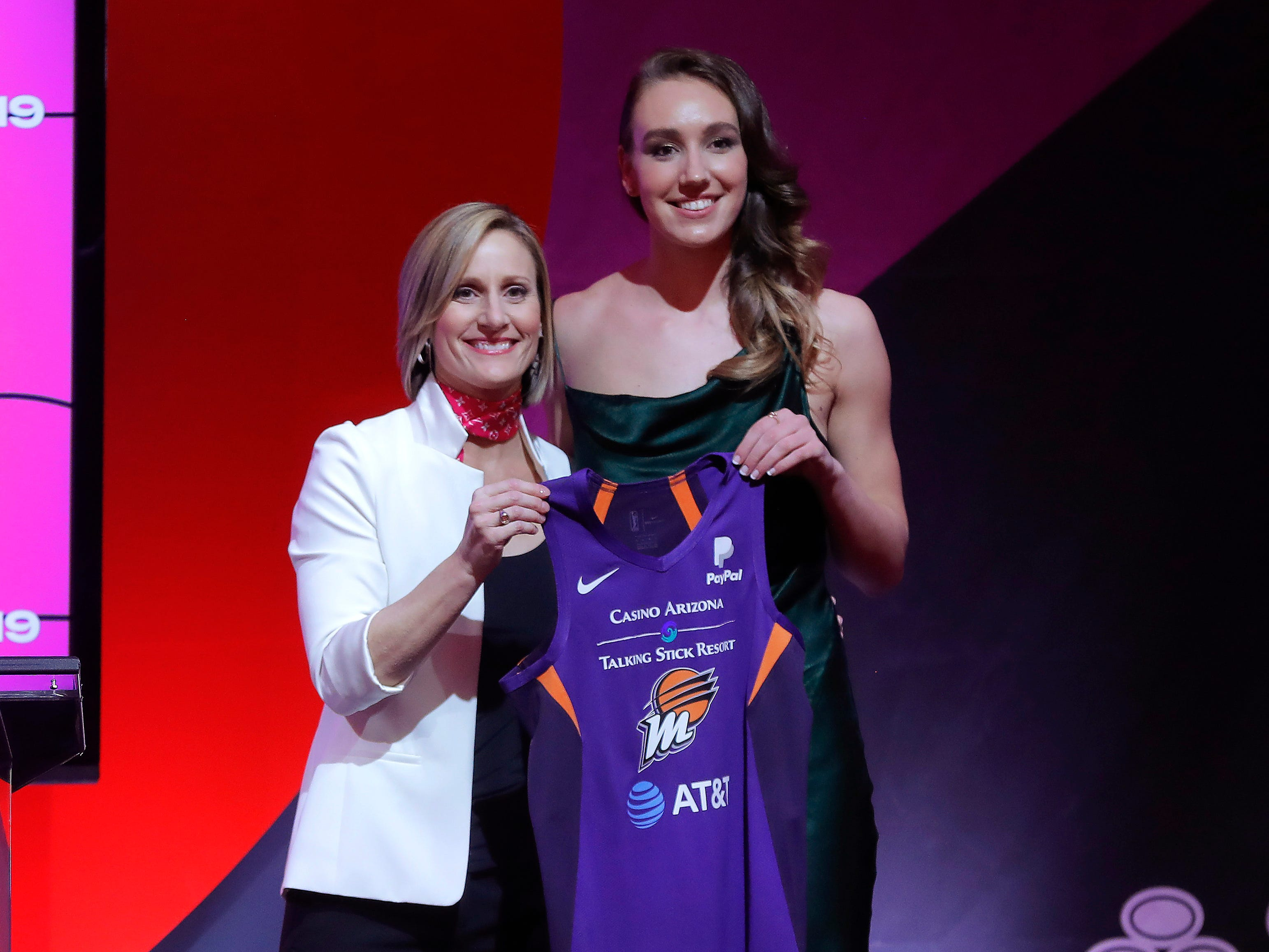 Stanford's Alanna Smithposes for a photo with WNBA COO Christy Hedgpeth after being selected by the Phoenix Mercury as the eighth overall pick in the the WNBA draft.