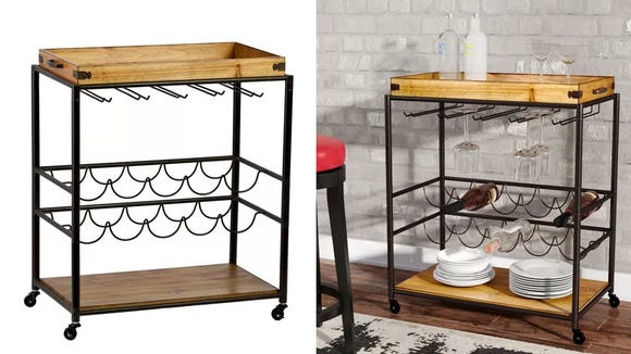 This minimalist bar cart will take your next dinner party to a new level of sophistication.