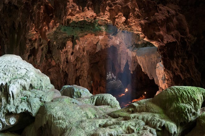 The fossils of Homo luzonensis were discovered in Callao Cave in the Philippines. This view is taken from the rear of the first chamber of the cave, where the fossils were found, in the direction of the second chamber.