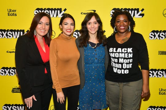 "Amy Vilela, Alexandria Ocasio-Cortez, Cori Bush are the subjects of Rachel Lears' (third from left) documentary ""Knock Down the House."""