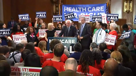 """Sen. Bernie Sanders of Vermont unveiled a new version of his """"Medicare for All"""" plan on April 10, reopening the debate over his call to eliminate private health insurance."""