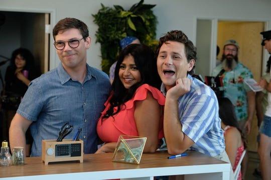 "Ryan (Ryan O'Connell, left) with his new friends Kim (Punam Patel) and Carey (Augustus Prew) in Netflix's ""Special."""