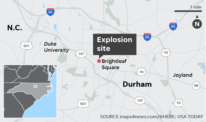 Durham, North Carolina explosion: 1 person dead in building ... on map of foxfire nc, map of spartanburg nc, map of bunnlevel nc, map of saxapahaw nc, map of moyock nc, map of salemburg nc, map of ferguson nc, map of raleigh nc, map of otto nc, map of clarksville nc, map of little river nc, map of biltmore forest nc, map of crouse nc, map of fearrington nc, map of philadelphia pa, map of charlottesville nc, map of millers creek nc, map of wilmington nc, map of fay nc, map of oakland nc,