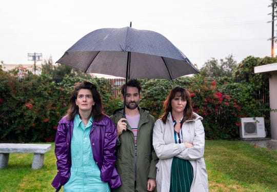 Gaby Hoffmann, left, Jay Duplass and Amy Landecker play the adult Pfefferman children in Amazon's 'Transparent.'