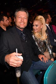 Blake Shelton and Gwen Stefani during the 54th Academy of Country Music Awards in Las Vegas
