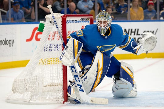St. Louis Blues goaltender Jordan Binnington will face the Winnipeg Jets in the first round of the playoffs.
