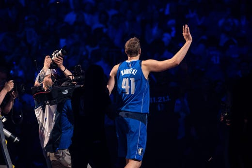 April 9: Dallas Mavericks forward Dirk Nowitzki walks off the court after announcing his retirement from the NBA. Jerome Miron, USA TODAY Sports