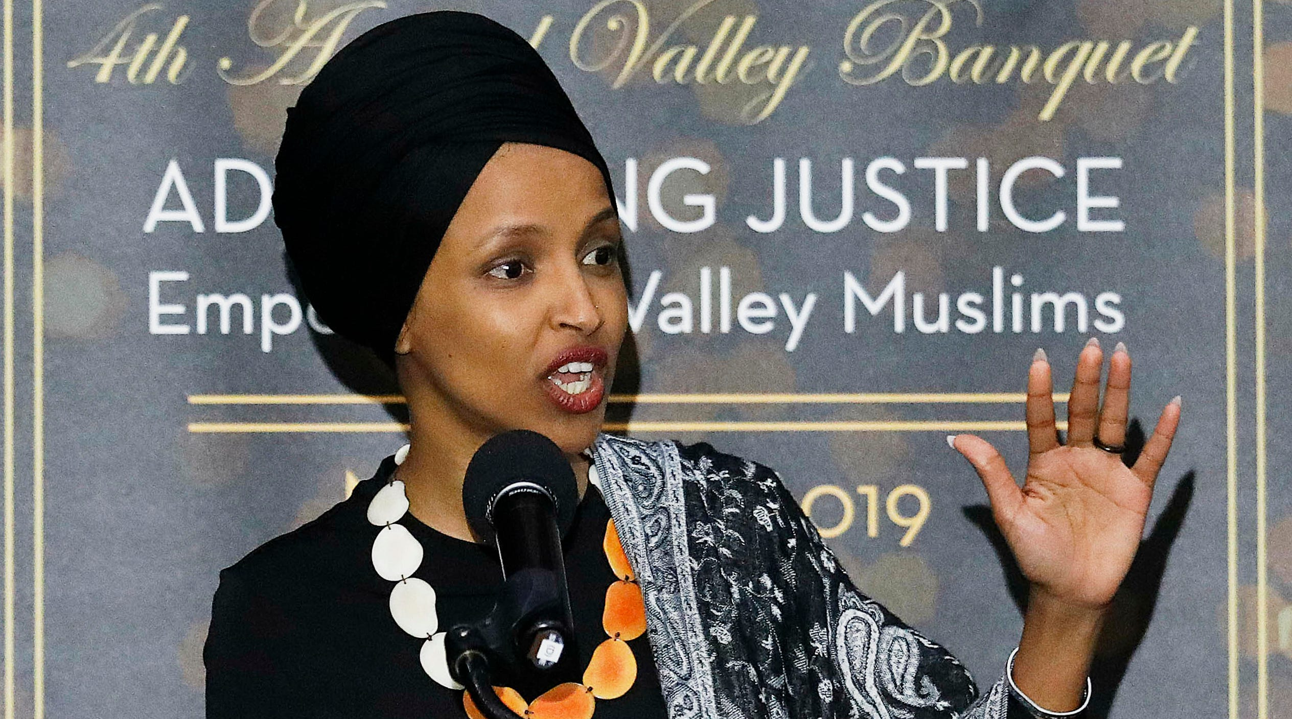 Rep. Ilhan Omar, D-Minn., speaks at a dinner banquet, part of a fundraising event for the Council of American-Islamic Relations of Greater Los Angeles at the Hilton hotel in Woodland Hills, California, March 23, 2019.