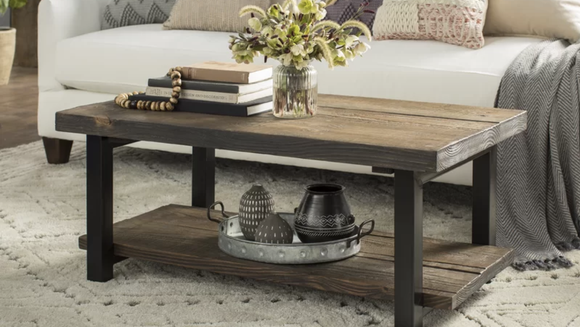 This rustic coffee table is perfect for a farmhouse-styled home,
