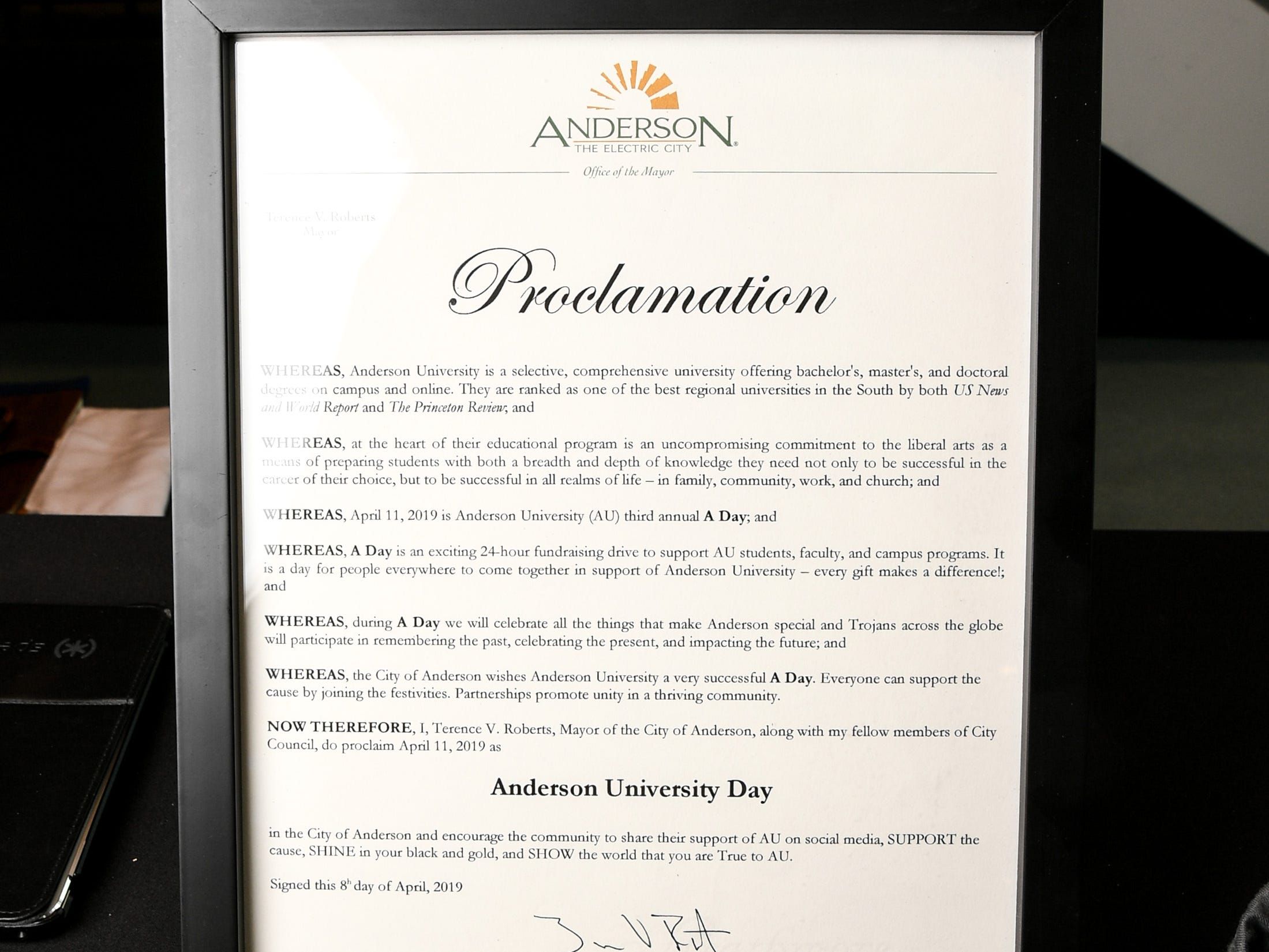 An Anderson Mayor Terence Roberts proclamation for A Day to Give, at a table inside the G. Ross Anderson Student Center, during A Day to Give at Anderson University Thursday.  The 24-hour fundraising drive event is meant to give people from the school a chance to participate in events on campus to recognize the past, present, and future.