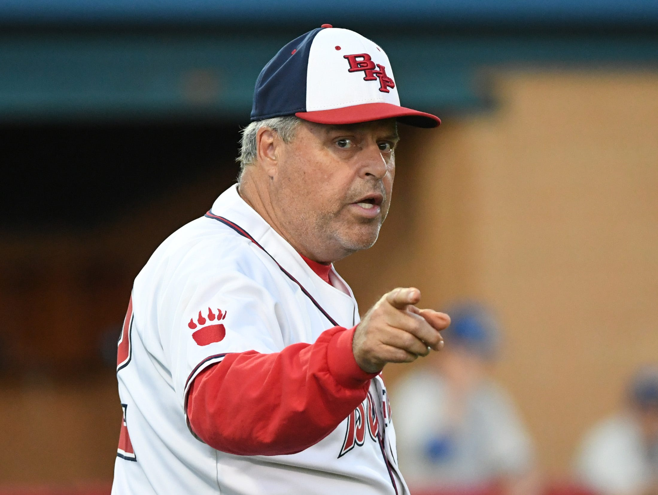 Belton Honea Path head coach Steve Williams calls for a relief pitcher against Wren Wednesday.